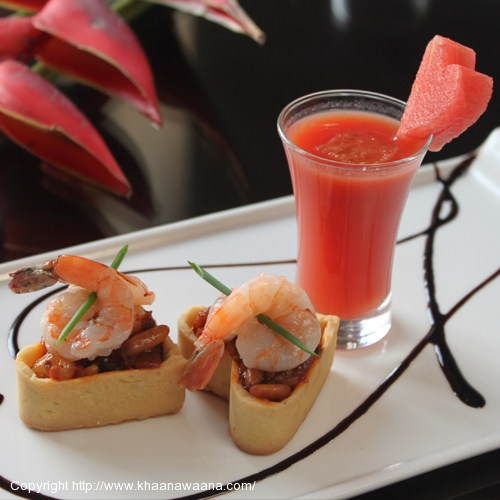 Warm Shrimp Caponata Tart With Cranberry and Red Pepper Coulis